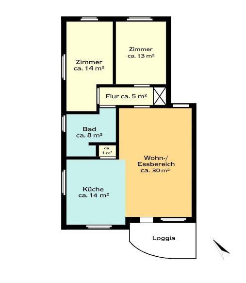 Geräumige 3-Zimmer Wohnung in ruhiger Lage - Grundriss